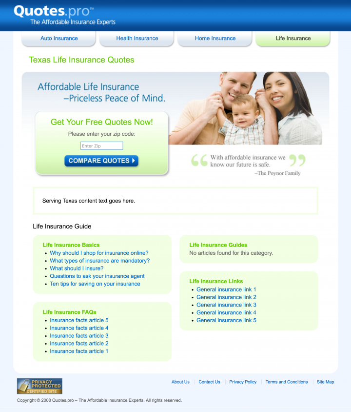 Nice Quotes.pro Texas Life Insurance Landing Page Design Screenshot