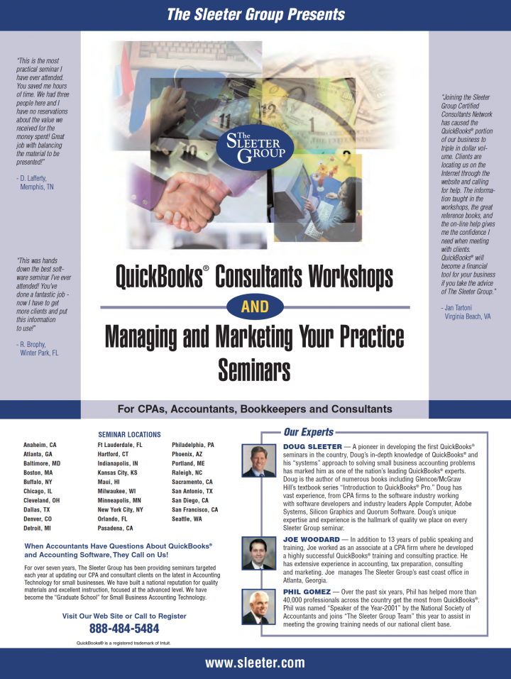 Sleeter Group QuickBooks Consultants Workshops and Managing and Marketing Your Practice Seminars Magazine Ad