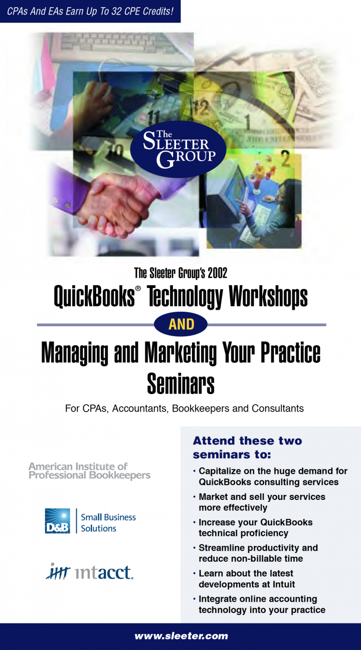 Sleeter Group QuickBooks Technology and Managing and Marketing Your Practice Seminars Mailer Brochure