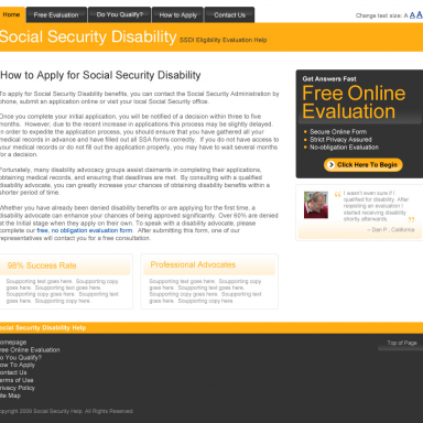 Social Security Disability Help Landing Page – version 1