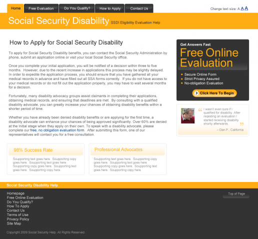 Social Security Disability Help Landing Page - version 1