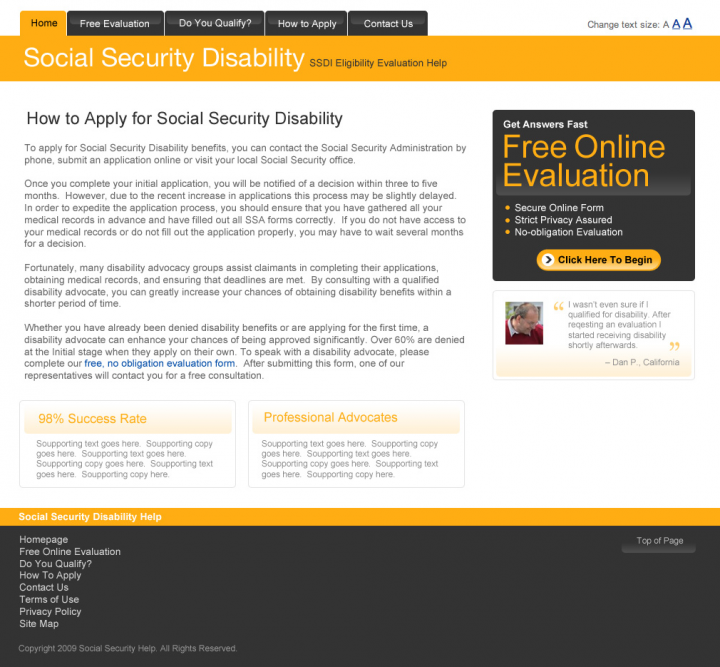 Social Security Disability Microsite Landing for DisabilityHelp.me