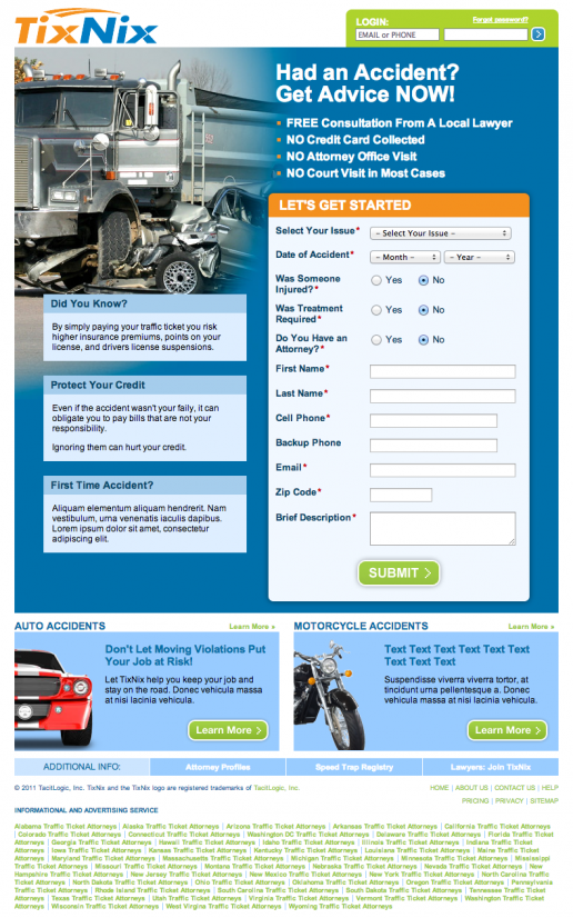 TixNix Landing Page – Trucking Accident