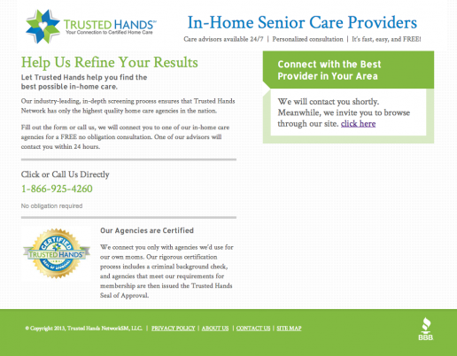 Trusted Hands Network Landing Page – Step 3 Confirmation Page