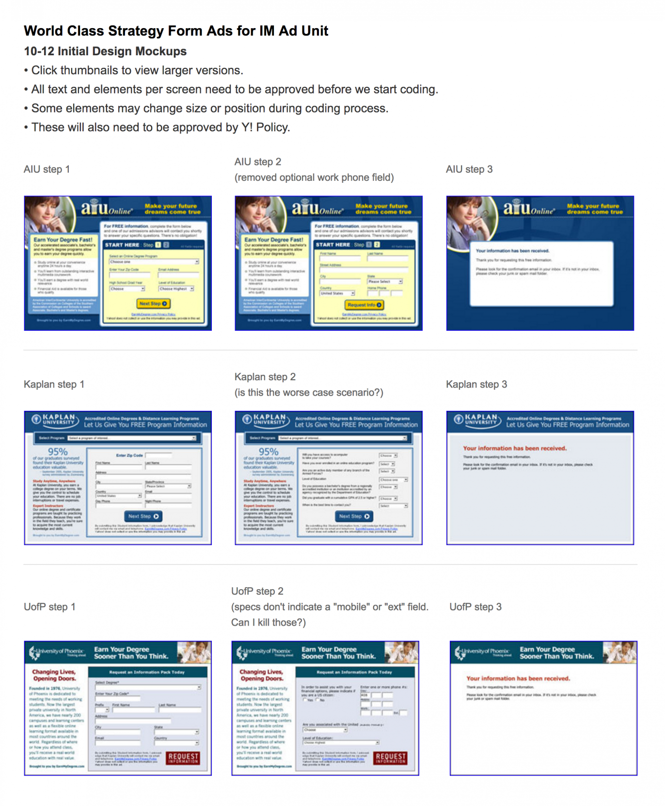 Screenshot of example presentation showing three ad campaigns with notes