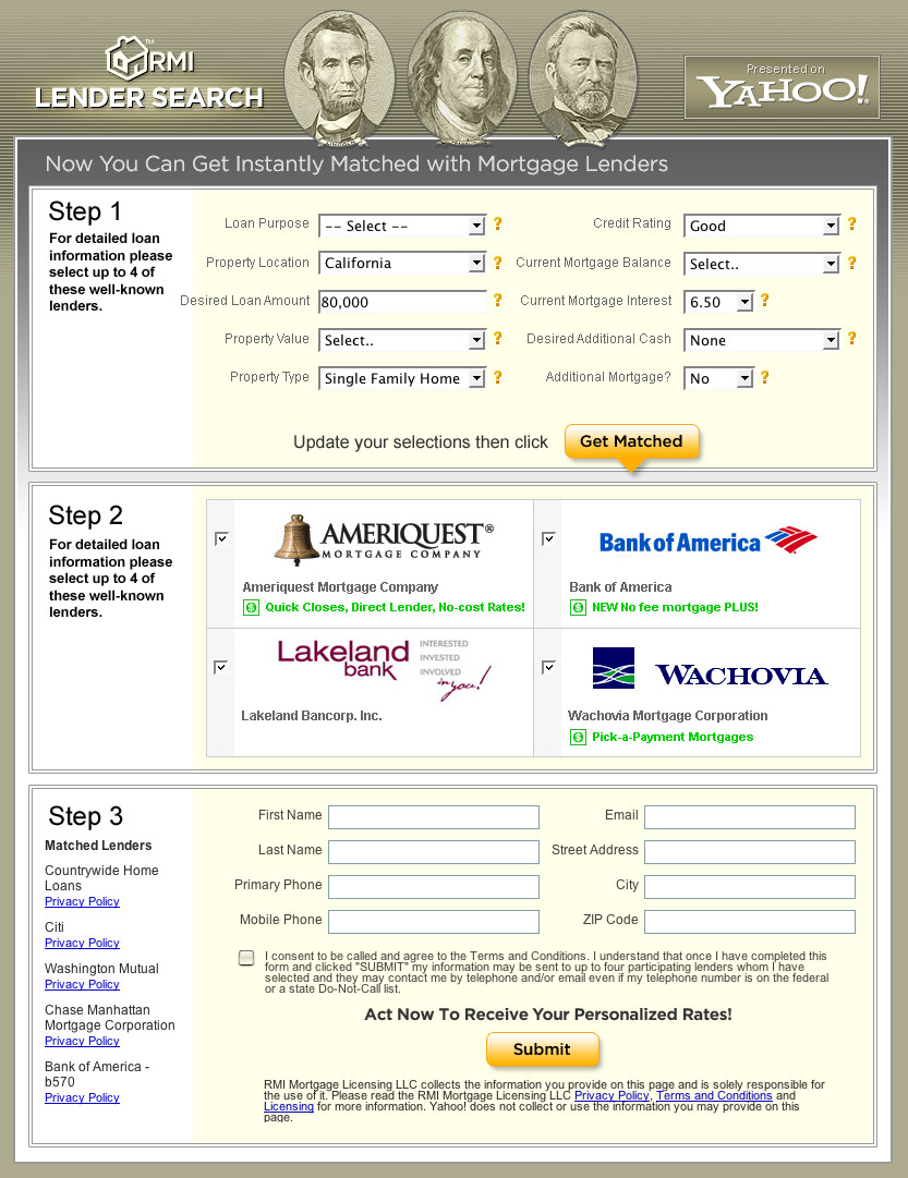 screenshot of landing page