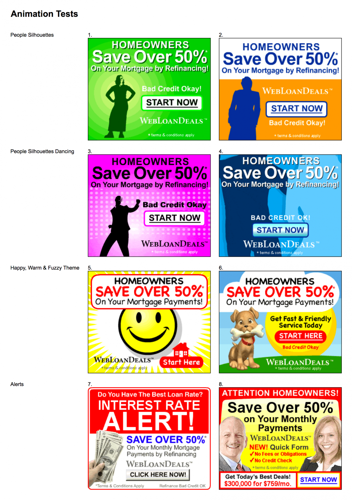 screenshot of banner ad testing matrix